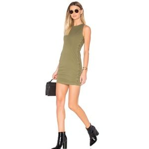 A.L.C Olive Green Valera Dress Lace-Up Sides